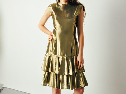 Vintage Gold Lame Ruffle Dress