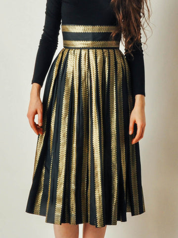 Vintage Black & Gold Pleated Skirt