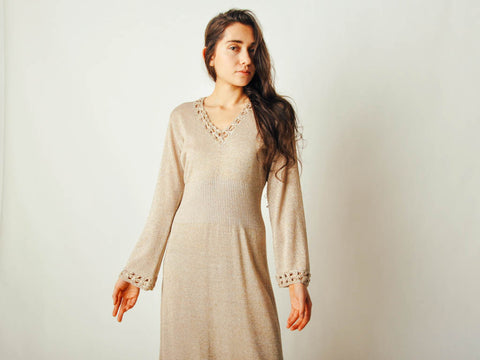 Vintage Metallic Knit Sweater Dress