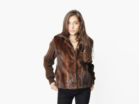 Vintage Dark Brown Mink Fur Gilet Jacket