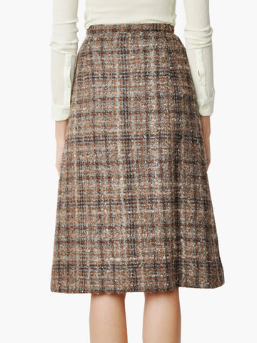 Vintage Brown Tweed Plaid Skirt