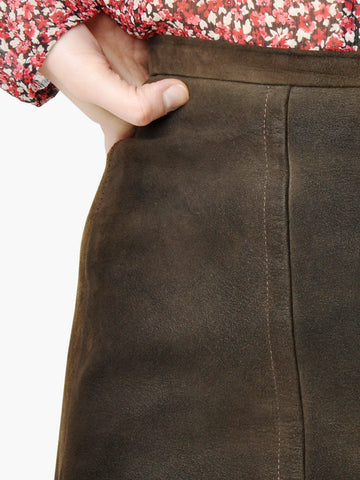 Vintage Dark Brown Suede Mod Mini Skirt