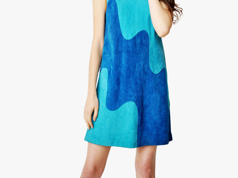 Vintage Blue Suede Mod Wave Dress