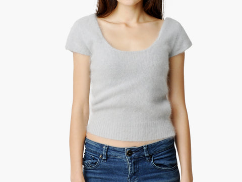 Vintage Light Gray Mohair Top