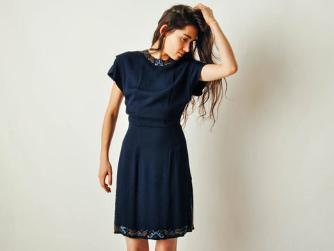 Vintage 40s Beaded Navy Dress