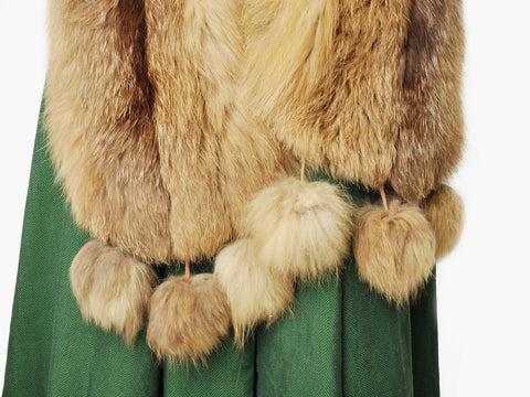 Vintage 1940s Neiman Marcus Brown Fox Fur Stole With Pom Poms