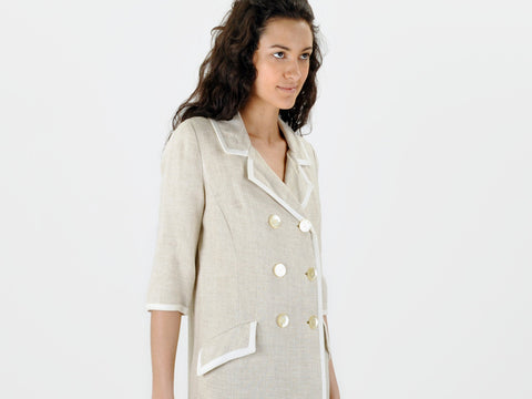 Vintage NEIMAN MARCUS linen jacket with white trim