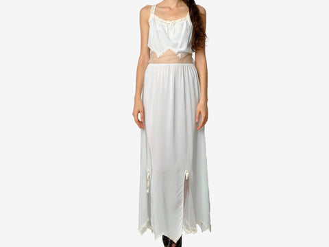 Vintage Slip Dress with Sheer Cutouts
