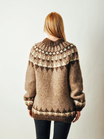 Vintage Brown Fair Isle Sweater