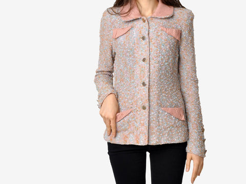 Vintage Pink Tweed Textured Jacket
