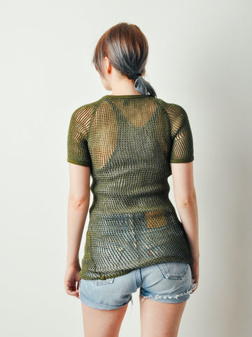 Vintage Army Green Net Shirt