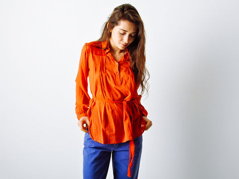 Vintage Rust Orange Belted Blouse