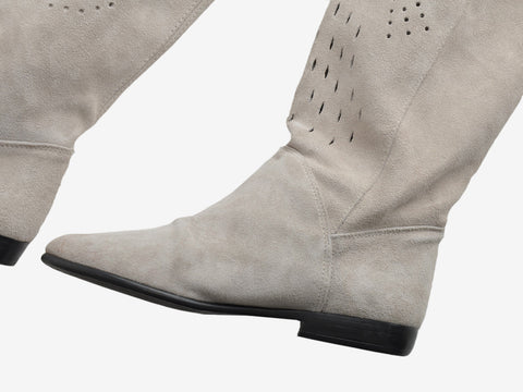Vintage Gray Suede Over-the-Knee Cut Out Boots