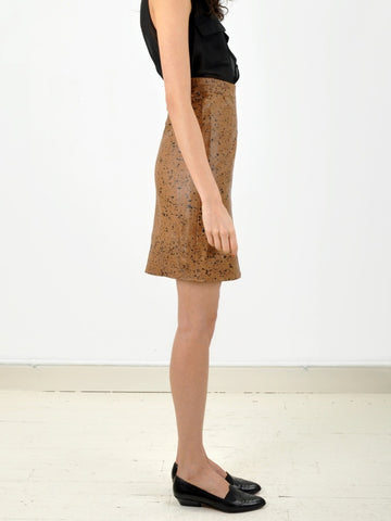 Vintage Brown Painted Leather Skirt