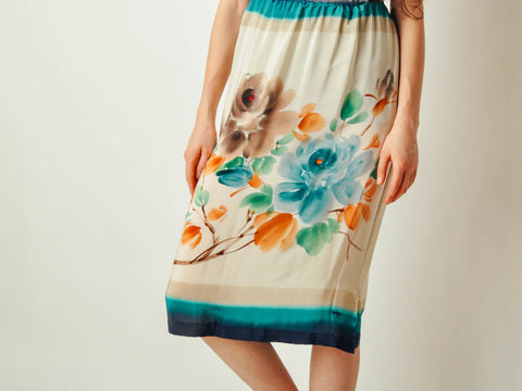 Vintage Hand Painted Silk Skirt