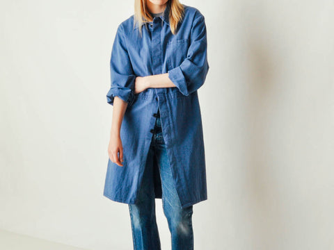 Vintage Long Periwinkle Work Jacket - Dark
