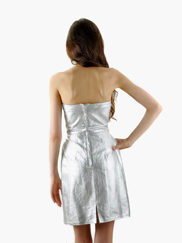 Vintage Silver Leather Mini Dress