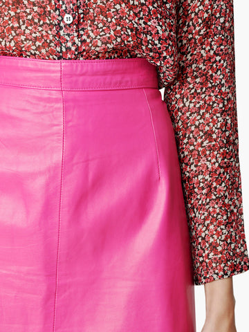 Vintage Leather Candy Pink Pencil Skirt