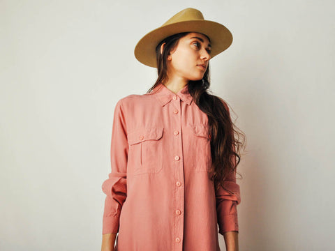 Vintage Pink Silk Button Down Top