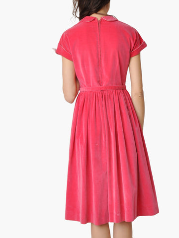 Vintage Fuchsia Collared Velvet Dress