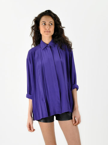 Vintage Oversized purple pleated silk blouse