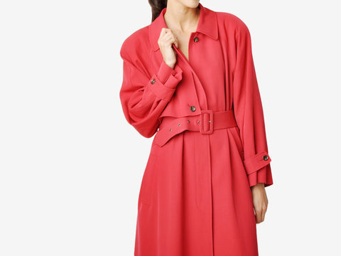 Vintage Bill Blass Belted Red Trench Coat