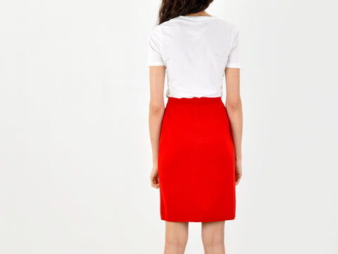Vintage Red Wool Knit Pencil Skirt