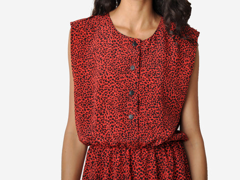 Vintage Red Leopard Mini Dress