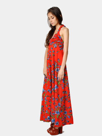 Vintage Red Floral Print Maxi Halter Dress