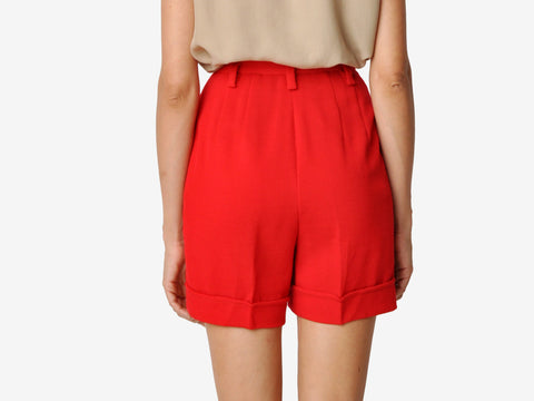 Bold Red Wool Twill Shorts