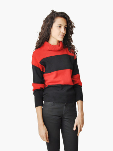 Vintage Rodier Red and Black Stripe Turtleneck Sweater