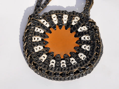 Woven Leather Circle Bag