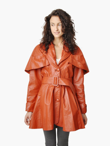 Vintage Burnt Sienna Leather Peplum Cape Coat
