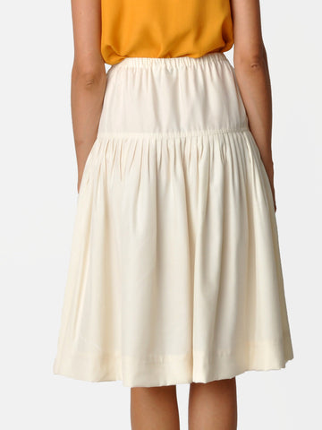 Vintage Ivory Pleated Silk Skirt