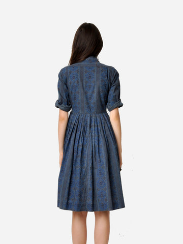 Vintage Navy Printed Cotton Shirtwaist Dress