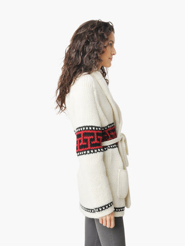 Vintage White Belted Cable Knit Sweater