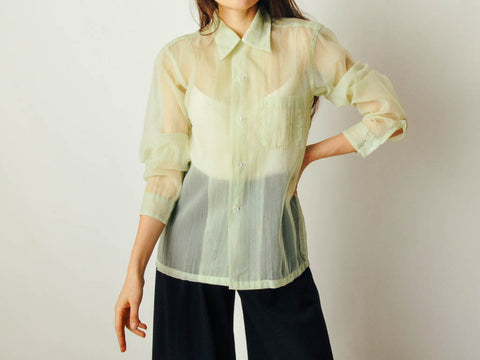 Vintage Sheer Lime Green Blouse