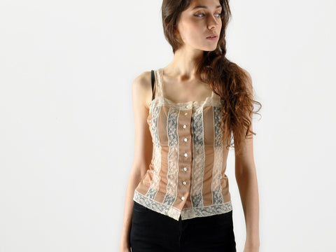Vintage Sheer Nude and Lace Button Up Tank Top