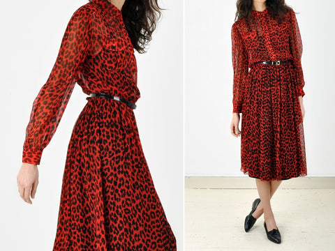 Vintage Sheer Red Leopard Print Dress