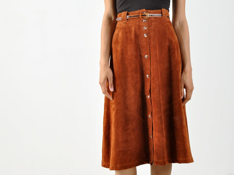 Vintage Button-Up Suede Skirt