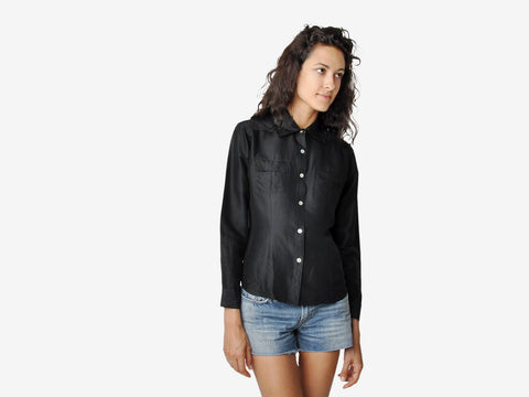 Vintage Black Silk Button Down Shirt