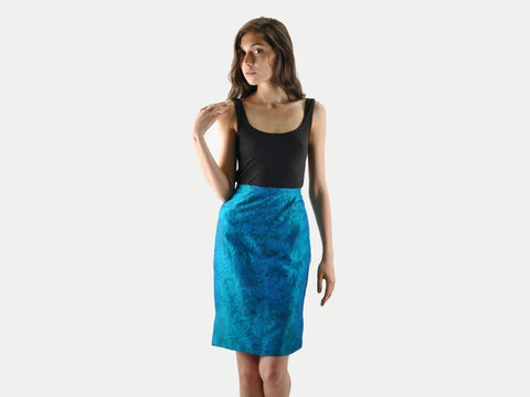 Vintage Blue Botanical Print Silk Pencil Skirt