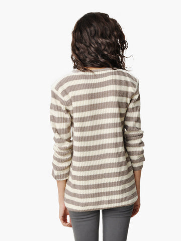 Vintage Striped Sweater with a Single Pocket
