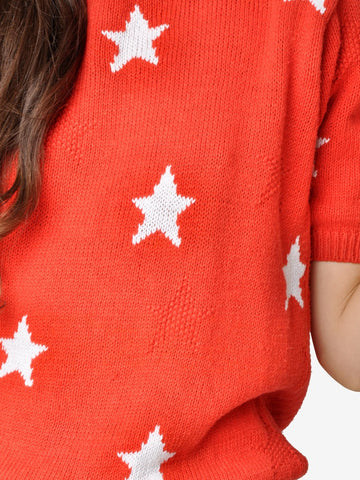 Vintage Red and White Star Sweater Top