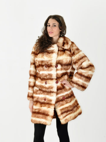 Vintage Cream and Brown Striped Fur Coat