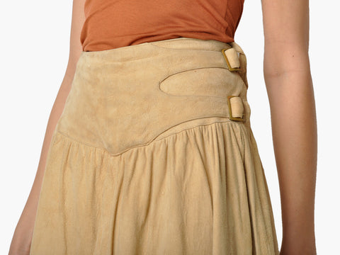 Vintage Tan Suede Buckle Skirt