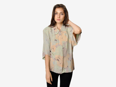 Vintage Abstract Floral Button Down Shirt