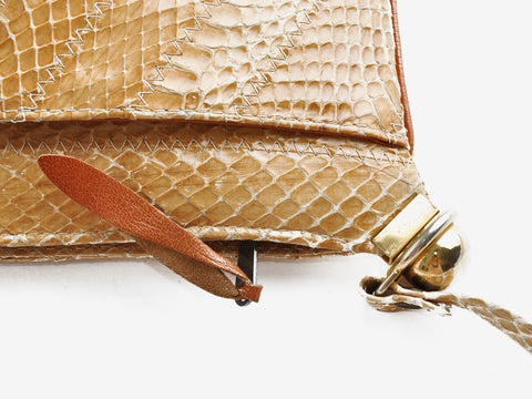 Vintage Tan Snakeskin Shoulder Bag