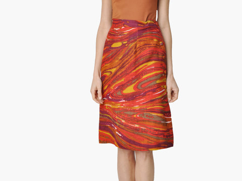 Vintage Abstract Print Linen Skirt