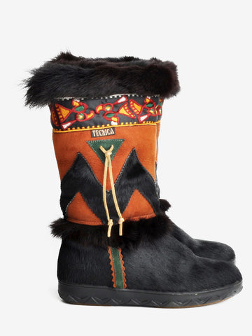 Vintage Tecnica Black and Brown Fur Snow Boots